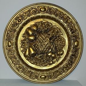Vintage Wall Brass Plat With a Fruit Design